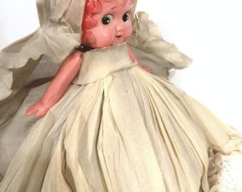 Vintage Googly Eye Celluloid Doll Crepe Paper Dress Carnival Prize Kewpie