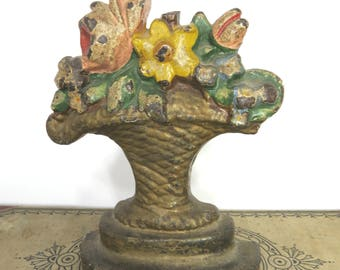 Vintage Flower Basket Cast Iron Painted Doorstop Hubley Bouquet Basket