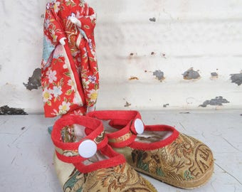 Asian Baby Shoes Brocade Ankle Strap Style Toddler Silk Satin Slippers