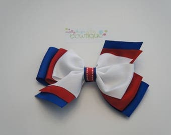 "6"" Patriotic layered boutique bow Red, White and Blue  Great for Summer  LIMITED"