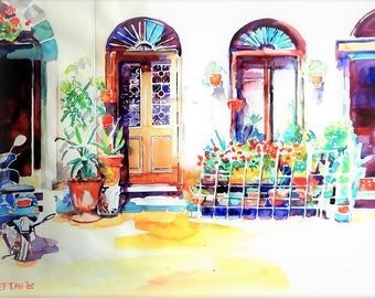 Watercolor painting of a Mexican house.