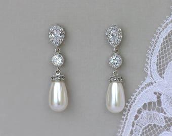 Pearl Bridal Earrings, Pearl Drop Earrings, Crystal & Pearl Wedding Earrings, Silver Pearl Earrings, AUDREY  Pearl