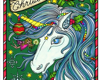Christmas Magic Digital Coloring Book Pages Fantasy Art Adult Color Page Digi Stamps