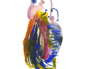 "Miniature Colorful Abstract Gouache Watercolor Figure Art featuring Original Fashion Illustration 6"" x 6"" - 241"