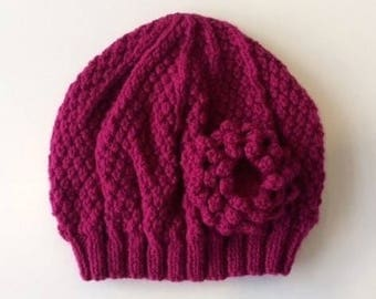 Ladies Hat in Dark Pink With Detachable Flower Brooch Hand Knitted