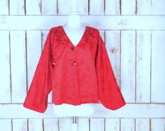 Vintage red/pink brocade Chinese/Japanese kimono cardigan jacket/reversible floral brocade kimono jacket/Asian brocade top