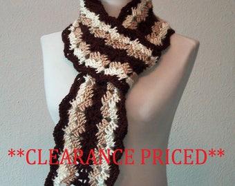 CLEARANCE PRICED 60% OFF - Long Scarf Brown-Tan-Ivory - Hand Crocheted - Soft Acrylic Yarn - Handmade - Ladies & Teens - Ready to Ship