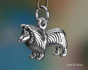 Sterling Silver Collie or Shetland Sheepdog Charm Dog 3D Solid .925