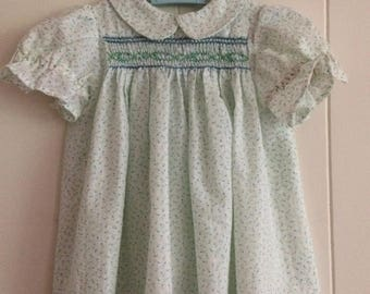 Smocked baby dress, light blue aqua, Polly Flinders style, 24 months