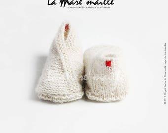 Baby booties baby wool knitted beige Alpaca hand de La Mare' mesh