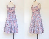 vintage 1970s cotton floral sundress | 70s Dash-About sleeveless printed dress | S