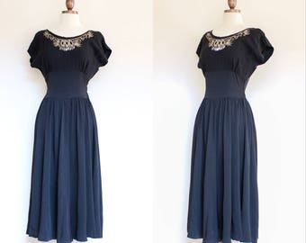 vintage 1940s 1950s black rayon dress with embellished neckline   40s 50s black evening dress with rhinestones and details   XS