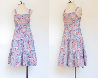 vintage 1970s cotton floral sundress   70s Dash-About sleeveless printed dress   S