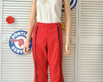 Vintage 60s-70s Red Colored Jeans/Double Full Length Zippers & Black Studs Adult Mens Womens Hippie Funky Flare Groovy 36x31 Costume Pants