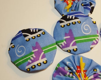 Eight large Yo Yos for crafting, Blue fabric print, roller skate pattern, hair bows, card making, quilting