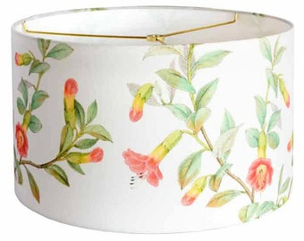 LARGE Linen Summer Cottage Lamp Shade - Yellow Coral Aqua Green Flower Lampshade - 13 14 15 Inch Drum Lamp Shade - Custom Made to Order