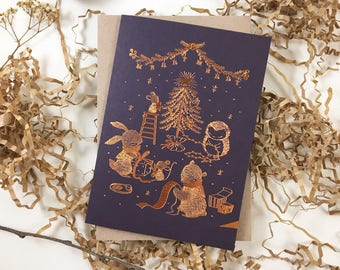 Christmas Card - Merry Merry Christmas - 10 Copper Foil Greeting Cards