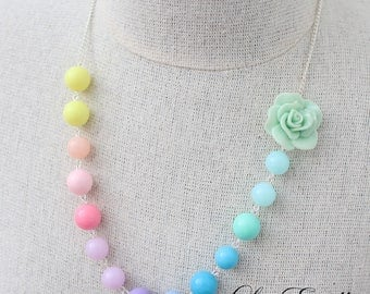 Rainbow Necklace Rainbow Floral necklace Multi Colored necklace Pastel necklace Garden necklace Summer necklace Girls Necklace- Jellybeans