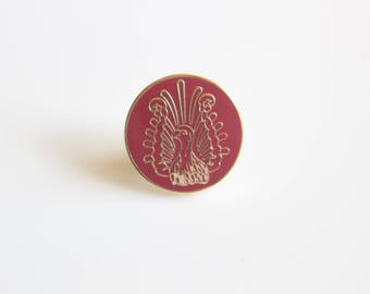 Lyre Bird Pin / Red Enamel Pin / Red Bird Pin