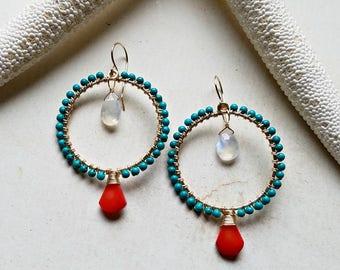 Turquoise Red Coral Hoops, Boho Turquoise Earrings, Bollywood Earrings, Rainbow Moonstone Hoops - Chabeela