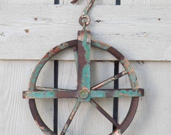 Pulley~Vintage Style~Iron Pulley~Pulley Wheel~Antique Style Iron Pulley~Farmhouse~Barn Decor~Pulley Light Fixture
