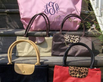 Foldable Tote Bag in Three Sizes with Monogram or Name Pink Navy Tan Brown Cheetah Leopard Red