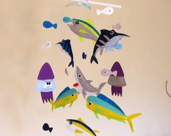 """Custom """"mahi mahi and tuna fish"""" Theme Baby Crib Mobile, Marlin fish Baby Nursery Mobile, Shark Felt Mobile, Squid and fish Baby Mobile"""