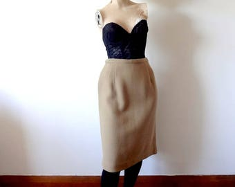 1960s Wool Pencil Skirt, camel color wiggle skirt, midcentury vintage classic skirt