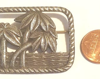 Vintage NOS 900 Silver Mexican Aztec Pin Brooch Free Shipping