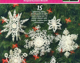 PEARL DROP SNOWFLAKES Crochet Annie's Attic 873413 Embellished with Beads Sequins Rhinestones 15 3-D Ornaments
