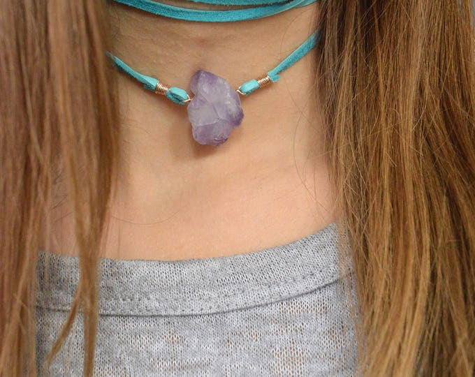 Amethyst Necklace, Leather Wrapped Necklace, Quartz Jewelry, Druzy Necklace, Quartz Point, Crystal Necklace, Leather necklace, Quartz