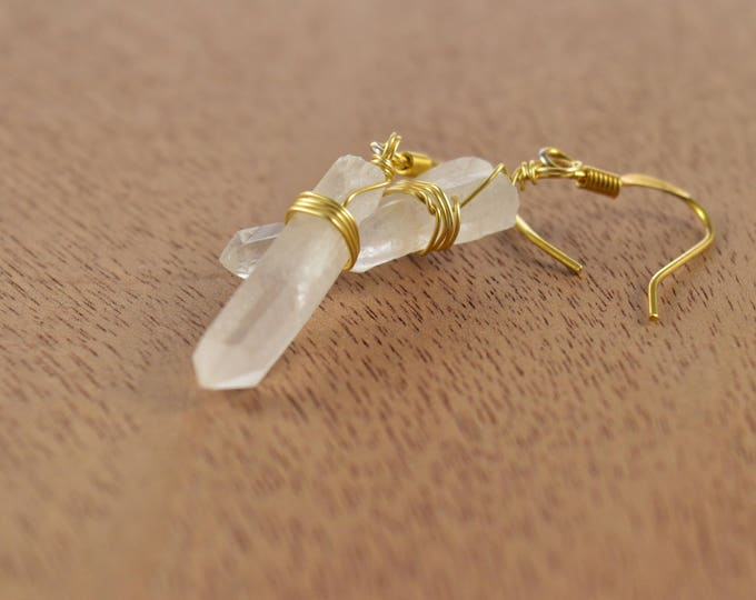 Natural Raw Quartz Crystal Point Earrings