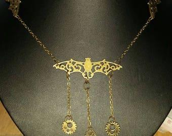 Steampunk Bat necklace, steampunk jewellery, Bat necklace
