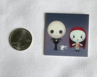 Acrylic Disney Jack & Sally Inspired Bow Center Magnet Badge Reel Accessories Zero Nightmare Before Christmas