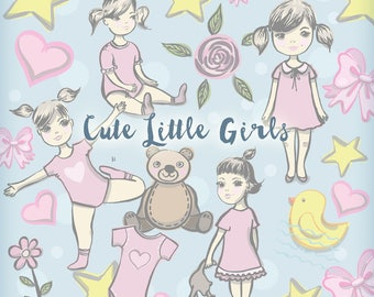 Cute Little Girls clipart. Digital printable girly clip art images for digital scrapbooking, cards. Baby Girl printables images.