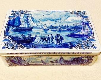 Vintage HOLLAND Dutch Tin Box Aqua Blue White Boat Windmill Ship Delft