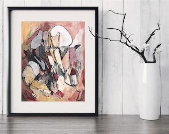 Medium ORIGINAL Painting, Black White Red Orange Yellow Flesh Brown Tan Painting, Acrylic Ink Painting, Abstract Art, Abstract Line Painting