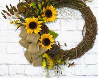 Sunflower Wreath, Fall Wreath, Sunflower Decor, Fall Sunflower Wreath, Rustic Fall Wreath, Rustic Sunflower Decor, Fall Decor