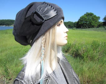 Slouchy Beanie Hat Black /Charcoal Gray Cotton Distressed Acid Washed Leather Belt Buckle Straps BOHO Post Apocalyptic Clothing  A2072