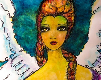 Angel Clarabella - Original Watercolor and Media Painting
