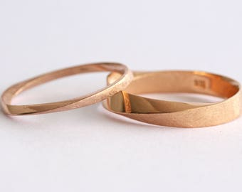 Wedding Band Set, His And Hers Wedding Rings Set, Mobius Rings set, Mobius Wedding Ring Set, Mobius Wedding Band Set, Twisted Wedding Band