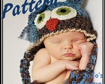 Owl Hat Pattern - PDF Pattern for Baby Owl Hat - Two Toned Owl Hat Crochet Pattern - Owl Hat Crochet Pattern - by JoJo's Bootique