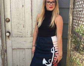 FREE SHIPPING!: Vintage 1960's Nautical High Waisted Midi Denim Printed Skirt