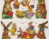 Victorian Easter and Spring Decoupage Pages, German Bunnies Roses Eggs Easter Baskets Paper Scraps, Paper Crafts Decoupage, Scrapbook Paper
