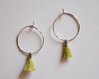 the Laurel -earrings in Green (small halo hoop earrings with tassel minimal every day )