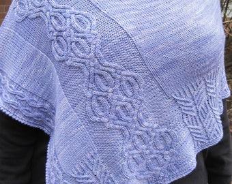 Knit Poncho Pattern:  Thurso Cabled Poncho Knitting Pattern