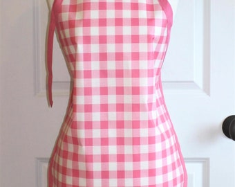 LAST ONE Womens Waterproof Apron Utility Apron in Pink Gingham
