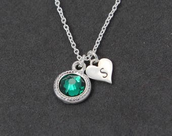 Silver Mothers Necklace Initial Necklace with Birthstone, Emerald Jewelry, Personalized Sterling Silver Initial Gift for Mom