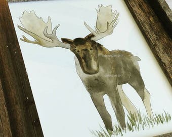 Woodland Animals Art, 8x10 Art Print, Watercolor Painting, Nursery, Baby Animals, Fox, Hedgehog, Moose, Bear, Pine Trees, Framable Art