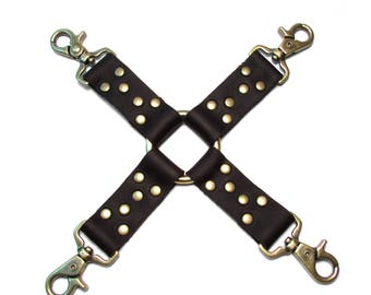 HOG TIE BDSM Leather 4-Point Restraint in Black and Antique Brass - Mature